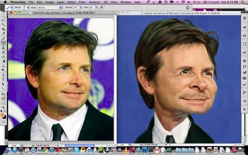 digital caricature of Michael J Fox - 3a