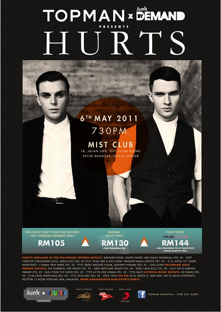 HURTS POSTER LIVE IN KL