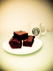 Chocolate Brownies (KJGarbutt) Tags: food brown cooking photography baking dof sweet chocolate sony plate cybershot sugar starbucks mug brownie kurtis sonycybershot chocolatey garbutt chocolatebrownie kjgarbutt kurtisgarbutt kurtisjgarbutt kjgarbuttphotography