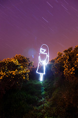 Being In The Universe (White Witch Light Painting), Dorset (flatworldsedge) Tags: longexposure flowers light painting star witch magic trails spell led torch dorset flashlight strega gorse