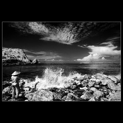 fisherman (yoga - photowork) Tags: morning blackandwhite bw panorama cloud tree beach clouds canon indonesia lens landscape ir photography 350d angle wide wideangle v3 canon350d infrared 1022mm humaninterest rosepetal digitalinfrared landscapephotography beautifulmorning infraredphotography inspiredbylove efs1022mmf3545usm morningactivity trasognoerealt landscapebeauty anawesomeshot beautifulindonesia flickaday visitindonesia onewordwow infraredpanorama internationalflickrawards flickrclassique trasognoerealta