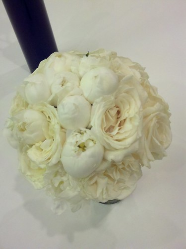 white peony and white garden rose bridal bouquet
