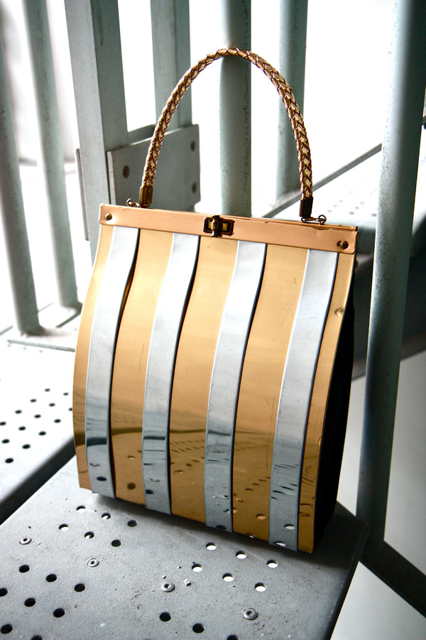 1950s metallic striped handbag with woven handle