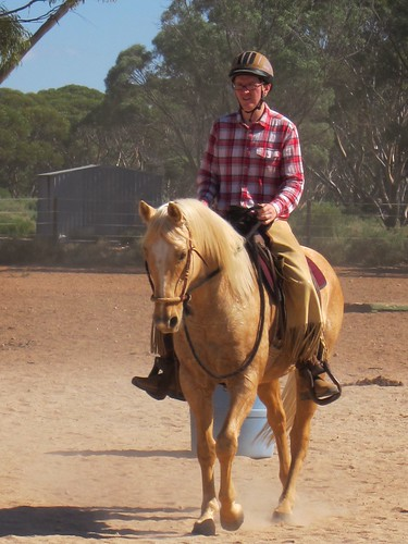 Riding one of Steve Halfpenny's horses at Silversand in South Australia