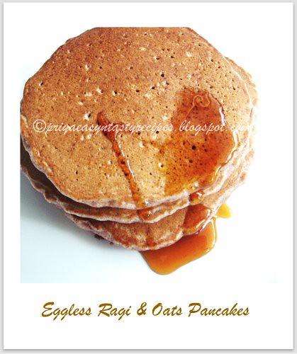 Eggless Ragi & Oats Pancakes