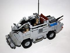 Jackal Enforcer (Babalas Shipyards) Tags: scale army jackal lego 4x4 military afv minifigure guntruck wmik