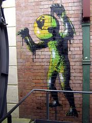 """The World Is Your Monster"" by TEZ stencil (TEZ.) Tags: streetart art newcastle saw stencil artist banksy pop popart tina publicart stencilart tez protestart juxtapoz socialcomment vna theworldisyourmonster australianstreetart commentaryart"