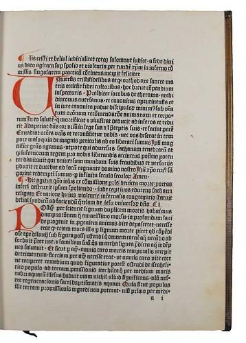 Title incipit of Jacobus de Theramo: Consolatio peccatorum, seu Processus Belial