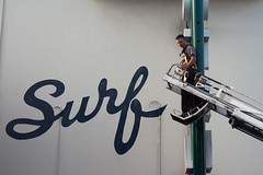 surf's up (bhautik joshi) Tags: sf sanfrancisco california sign delete5 delete2 words lift crane delete6 delete7 save3 motel delete8 delete3 delete delete4 save save2 repair ladder delete1 lombardst harness marinadistrict sfist 2011 maintainence surfmotel bhautikjoshi