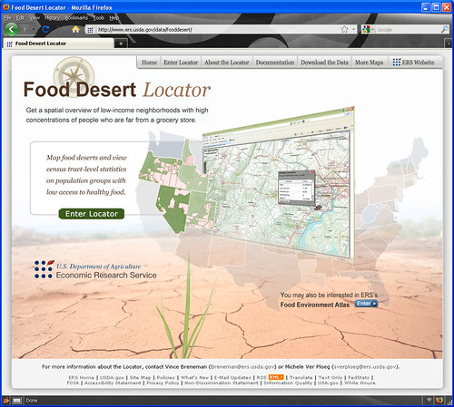 Home page of mapping tool, Food Desert Locator