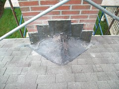 Chimney Flashing into Shingle Roof (GF Sprague) Tags: chimney boston ma belmont cap flashing brookline newton rebuild weston repairs repoint