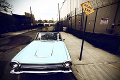 Dead End (mheidelberger2000) Tags: newyorkcity classic car brooklyn fence historic eastriver williamsburg headlight deadend notresspassing nodumping