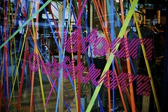 (Lizzie Staley) Tags: color colour window shop bristol neon bright display stripes urbanoutfitters streetphotography front ribbon dense cabotcircus instruction34