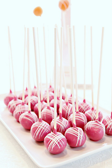 Fuschia Cake Pops on Platter