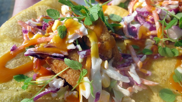 the hodge podge truck fried chicken tacos