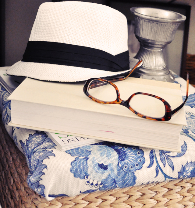 hat and book and glasses