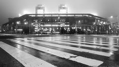 A Foggy Night Before 1st Pitch (mhoffman1) Tags: blackandwhite philadelphia wet monochrome rain fog night lights evening unitedstates baseball pennsylvania stadium foggy rainy phillies philly ballpark mlb cbp a7r silverefexpro