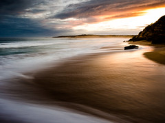Weathered Bronze (malk271) Tags: longexposure sunset sea seascape beach bronze landscape waves australia olympus victoria april torquay 43 2014 mft 1240mm microfourthirds omdem5