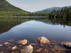 Late August (Steve Bosselman) Tags: newhampshire whitemountains lonesomelake newengland water reflections mountains rocks franconianotch mountlafayette