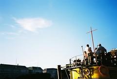 Tamesis Dock & Thames House (thomas100) Tags: olympus xa3 kodak ektar london westminster thames river sky clouds boat people social cross drinks bar floating blue yellow tamesis dock tamesisdock thameshouse
