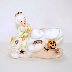Geo Z Lefton Halloween Angel Riding a Broom in the Clouds Planter (filigreefairy) Tags: lefton vintae collectibles planter halloween witch angel pumpkin jackolantern jol stars clouds heaven broom madeinjapan ceramic halo october