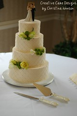 Buttercream Wedding Cake (Christina's Dessertery) Tags: wedding four cream ivory diamond butter round quilting pearl topper tier brideandgroom buttercream christinajohnson creativecakedesigns