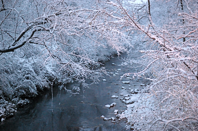 Gravois Creek, in Saint Louis County, Missouri, USA - after Spring snowfall