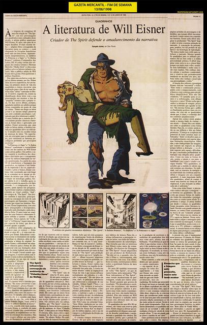 """A literatura de Will Eisner"" - Gazeta Mercantil - 13/06/1998"