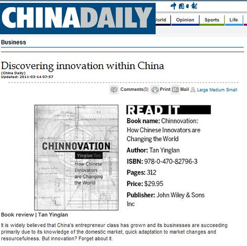 Review of Chinnovation on China Daily