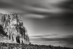 The Edge (lordoye) Tags: bw cliff clouds scotland blackwhite fife edge rockclimbers aberdour edgeoftheworld cloudmovement daytimelongexposure neutraldensityfilter nd110