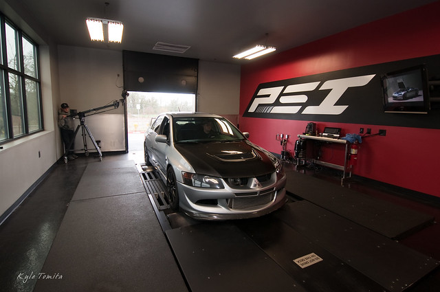 Ryan Davis filming an Evo on the dyno at PSI