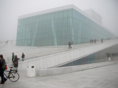 Oslo Opera House in the fog