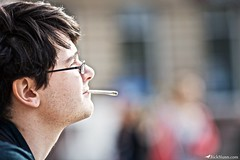 John Smokes (Rick Nunn) Tags: nottingham portrait people man colour glasses photo bokeh side manly photojournalism smoking canonef135mmf2l vsortpop