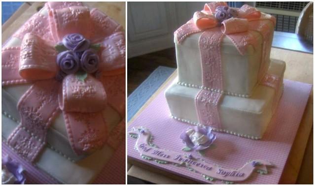 gift box cake for baby girl christening