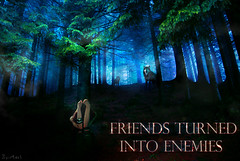 FRIENDS TURNED INTO ENEMIES (Hi I'm Adel) Tags: trees friends art girl design wolf pic turned enemies merage into
