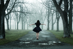 i've been going mad (londonscene) Tags: girl fog forest canon outside 50mm dress levitation mad murky