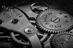Molnija 3601 movement B&W - Extension tube test (GuySie) Tags: bw macro vintage movement mechanical watch tube extension 3601 molnija