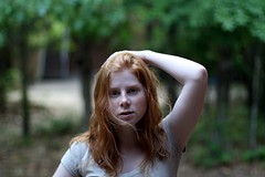 Day 202 (Linaline) Tags: light portrait woman green girl canon 50mm wind bokeh young redhead freckles 365 xsi