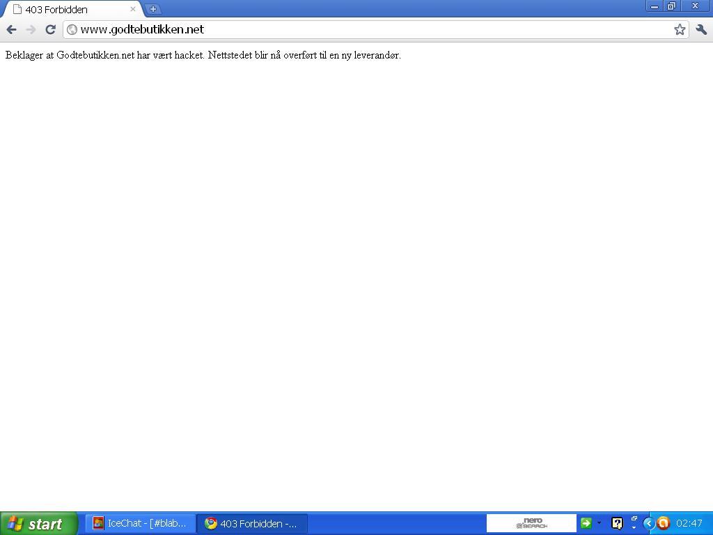 beklager at godtebutikken.net har vært hacket