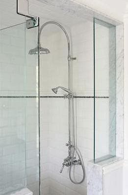 Shower with pony wall