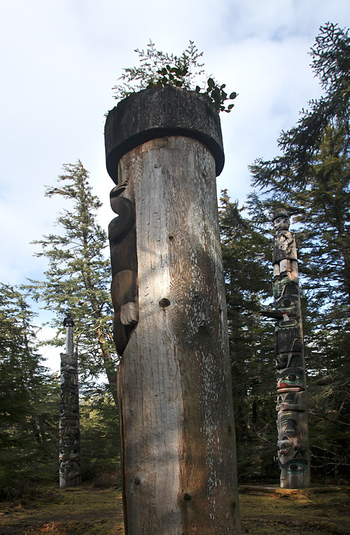 three totem poles in the Totems Historic District, Kasaan, Alaska