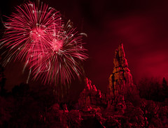 Red Thunder Mountain...[Explore #83] (Ring of Fire Hot Sauce 1) Tags: red sky night fireworks disneyland bigthundermountain frontierland canont1i