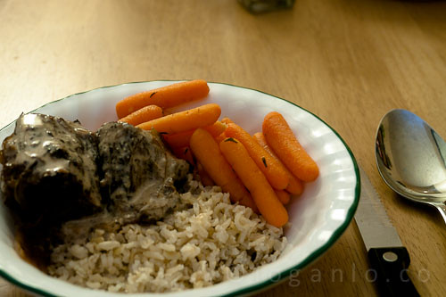 Braised beef with herbed carrots and coconus
