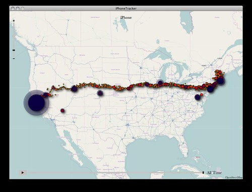 iPhone Tracker view of my travels since mid-June