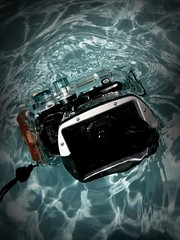 8-04-09 iPhoneography of the Day - iPhone is jealous that the Canon got to go swimming. (ericfairchild) Tags: cameraphone blue color apple water pool swim canon lomo lomography toycamera fairchild waterproof iphone mobilography g10 ileica iphonelomo iphone365 iphoneography ericfairchild efphoto fairchildphoto iphoneographyoftheday ericfairchild millcolour