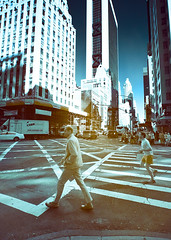 Times Square Infrared (Excaliber2013) Tags: street new york city people blackandwhite color skyscraper square ir walk canoneos20d tokina infrared times 28 hotspot false falsecolor 1116 lifepixel