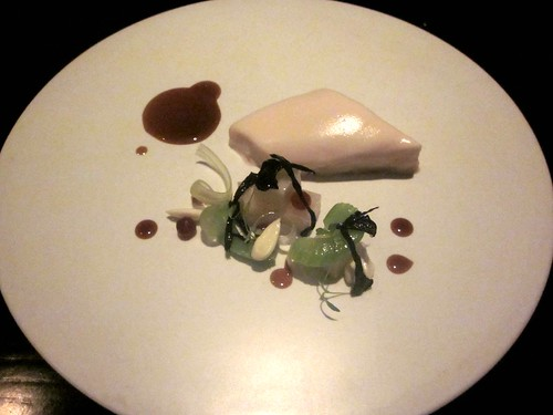 Benu - San Francisco - April 2011 - Poularde Breast, Celery, Black Trumpet Mushrooms, Green Almond, and Date