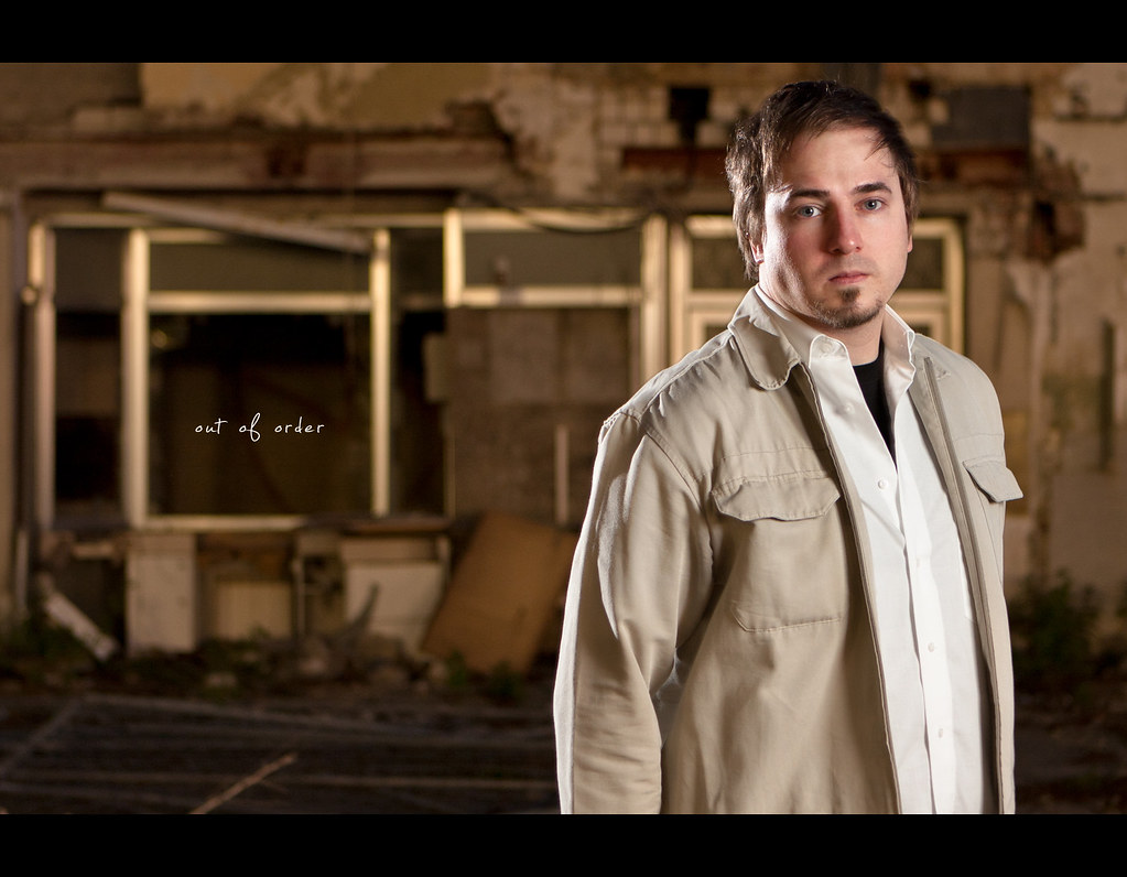 Project 365, Day 25, 25/365, Strobist, Self Portrait, Bokeh, ruin, out of order, broken, portrait, Canon Ef 24-70 f2.8