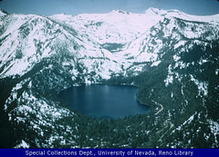 Fallen Leaf Lake aerial view, looking South, Ca. 1958-1975 (UNR Know Nevada) Tags: tahoe sierranevada fallenleaflake aerialphotographs environmentalpolicy