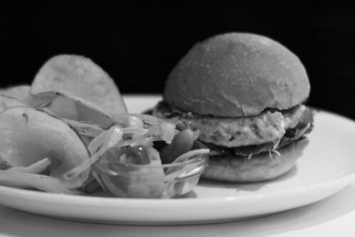 Awesome salmon burger (trust me, it looks better in B&W)